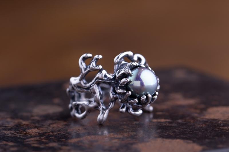 Eres Design - Anello perla sintetica grigia